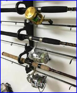 29 Deluxe Fishing Rod Pole Reel Holder Garage Wall Ceiling Mount Rack Organizer