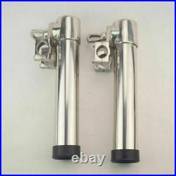 2pcs Stainless Steel Boat Marine Adjustable Clamp On Fishing Rod Holder Rests