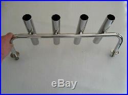 4 TUBE STAINLESS STEEL 316 BOAT FISHING ROD HOLDER (40 mm tube)