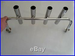 4 TUBE STAINLESS STEEL 316 BOAT FISHING ROD HOLDER (40mm tube)