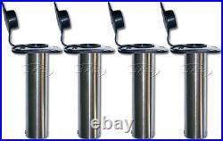 4 x 316 MARINE GRADE STAINLESS STEEL 90° STRAIGHT BOAT FISHING ROD HOLDERS+ CAPS