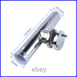 4X Adjustable Fishing Rod Holder Clamp on 1-1/4 to 2 Rail Boat Stainless Steel