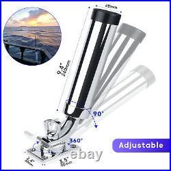 4X Marine Stainless Steel Boat Fishing Rod Holder 360 Degree Adjustable Mount