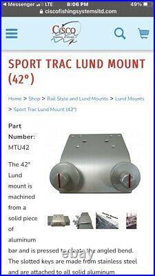 5 Cisco Lund Boat Sport-Trak Track Rod Holder Brackets 42 degree MTU42 Trac