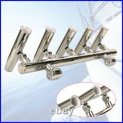 5 Rod Fishing Rod Holder Adjustable Stainless Steel Holder for Rails 1to 1-1/4