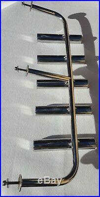 5 TUBE STAINLESS STEEL 316 BOAT FISHING ROD HOLDER (40 mm tube)