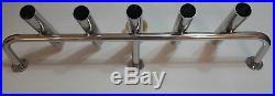 5-TUBE STAINLESS STEEL 316 BOAT FISHING ROD HOLDER (40mm tube)