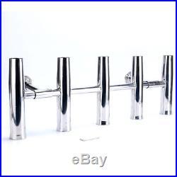 5 Tube Adjustable Stainless Steel Rocket Launcher Rod Holders 360 Degree -2 legs