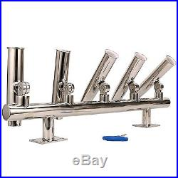 5 Tube Adjustable Stainless Wall/Top Mounted Rod Holder -9995S AM -BM