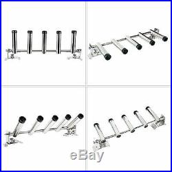 5 Tube Marine Boat Stainless Adjustable Fishing Rod Holders Wall /Top Mounted