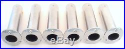 (6) Cast Stainless Steel 0 Deg Flush Mount Fishing Rod Pole Holders Heavy Duty
