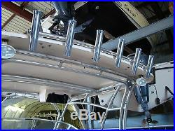 6 Pole Gold Fishing Rod Holder Rocket Launcher Hardtop Mount