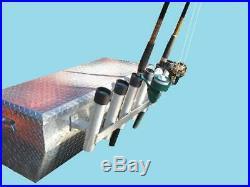 6 Pole Truck Tool Box Mounted Aluminum Fishing Rod Holder / Rack