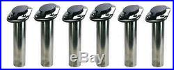 6 x Rod Holders, 30 deg Angled Boat Rod Holders, 316g Stainless Steel withCaps NEW