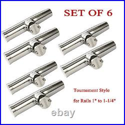 6PCS Tournament Style Clamp on Fishing Rod Holder for Rail 1 to 1-1/4