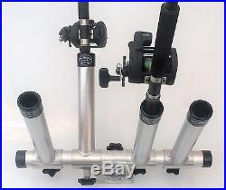 Aluminum Horizontal Quad Adjustable Rod Holder. High Seas Gear Fishing Equipment