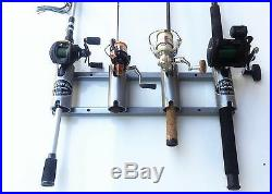 Aluminum Rod Storage Holder 4 Medium with Cutouts. Flush Mount. Fishing Holders
