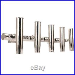 Amarine-made 5 Tube Adjustable Stainless Wall / Top Mounted Rod Holder-SSA