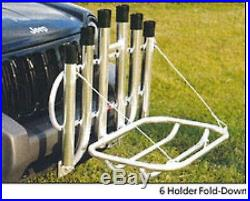 Angler's Fish-N-Mate Rod Rack 6 Rod Holder With Fold Down Front Vehicle Mount NEW