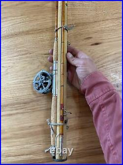 Antique bamboo fly rod three piece with holder Sunnybrook reel extra tip