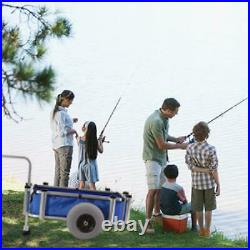 Beach Cart Blue Fish Marine Fishing Rod Runner Wheels Pier Deck Holder Surf Sea