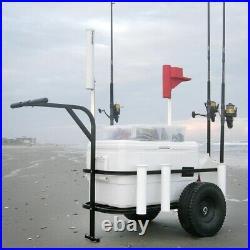 Beach Cart Fishing Pier Buggy Runner Carrier Rolling Wagon Cooler Trolley Surf