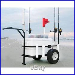 Beach Cart Surf Pier Fishing Rod Cooler Holder Runner and Rack Wheels Reel Gear