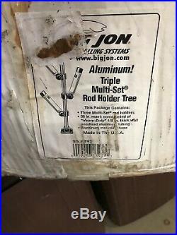 Big Jon Sports Aluminum Triple Multi Set Rod Holder Silver Tree Stk. # Tr3 NIB