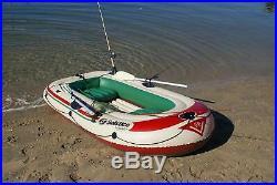 Boat 4 Person Inflatable Raft Heavy Duty PVC Swivel Oar Locks Fishing Rod Holder