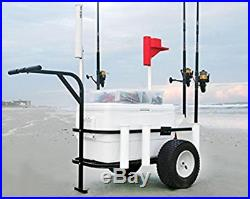 Deluxe Sea Striker Beach Cart Durable Pier Fishing Wagon Cooler, Rod Holders
