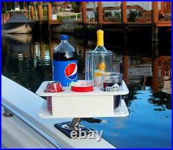 Docktail Jr Boat Cup Holder Caddy with All Angle Adjustable Rod Holder Mount