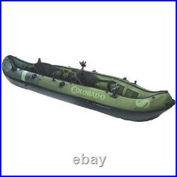 FISHING KAYAK 2-Person Inflatable 18-Gauge PVC Adjustable Rod Holder Green