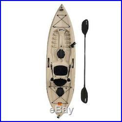 Fishing Kayak 10 ft Beige Angler with Paddle Deep Hull Rod Holders