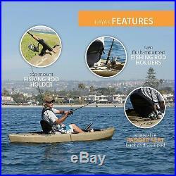 Fishing Kayak Paddle 2 Flush 1 Top Mount Fishing Rod Holders Padded Seats