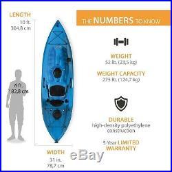 Fishing Kayak With Paddle Adjustable Rod Holder Padded Seat Back Shock Cords 275lb