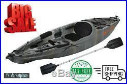 Fishing Kayak with Paddle Angler Gray Swirl Sit-On Lake Ocean Pond Rod Holder 10