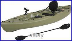 Fishing Kayak with Paddle Angler Olive Green Sit-On Lake Ocean Pond Rod Holder 10
