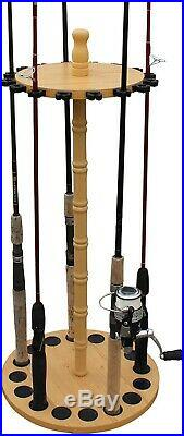 Fishing Rod Holder Portable 16-Rods Rack Storage Wood Hanger Equipment Organizer