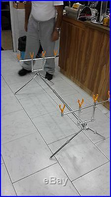 Fishing Rod Pod Carp Aluminum U+V Holders + Case-Stand for 4 Rods S. I. L