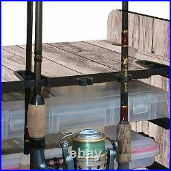Fishing Rod Rack Pole Holder Tackle Box Shelf Boat Trophy Room Bass Fish Graphic