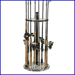 Fishing Rod Rack Standing Organizer Holder Floor Round Garage Storage Equipment