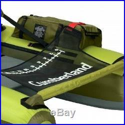 Fly Fishing Raft Float Tube Pontoon Boat Rod Holders Pockets Lake Angler Green