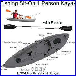 H20-FLO Fishing Sit-On 1 Person Kayak 10ft (304cm) with Paddle and Rod Holders