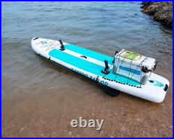 Inflatable 0.9mm PVC 12ft Fishing SUP Paddle Surf Board With Fishing Rod Holders