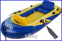 Inflatable Excursion Boat Set For 4 Person With Fish Rod Holders, Pump & 2 Oars