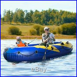 Inflatable Excursion Boat Set For Fish Rod Holders, Pump & 2 Oars