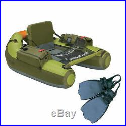 Inflatable Fishing Boat Cumberland Float Tube Raft Double 2-Rod Holder & Fin Set