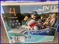 Intex Excursion 4 Boat Raft Set W Oars, Pump, & Fishing Rod Holders Ships Today