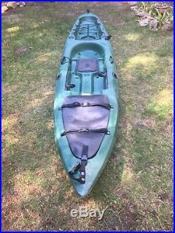 Malibu X-Factor Drk Green Fishing Kayak 14.5ft, 4 rod holders, 2 Dry Storage