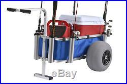Muscle Marine Beach Cart Surf Fishing Rod Cart On-Wheel Pier Deck Rod Holder NEW